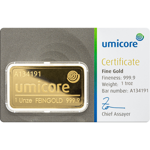 1 OZ. Goldbarren Umicore